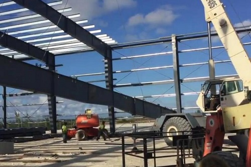 Odyssey Aviation steel building work-in-progress, The Bahamas